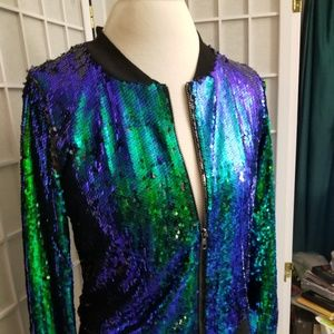 Iridescent peacock green sequined jacket sz 8